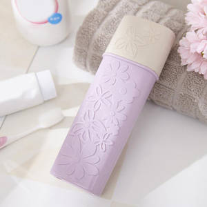 Portable Flower Carved Toothbrush Holder Hiking Outdoor Travel Camping Toothrush Cap Home Storage Box Case Toothpaste Wash Cup