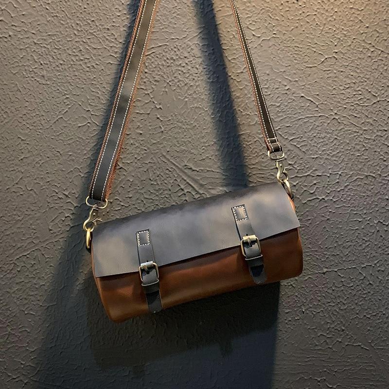 European And American Handbag Retro Crazy Horse PU Shoulder Bags Korean Torebka Men's Casual Crossbody Bag Leather Mini Borse