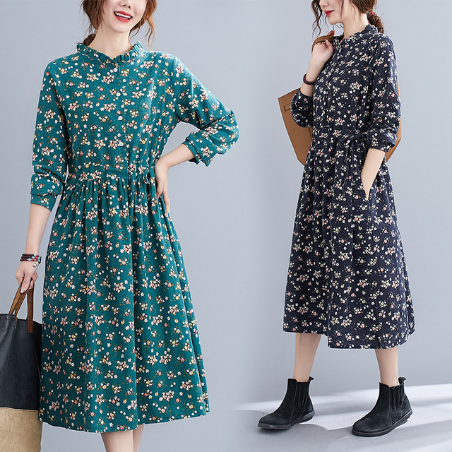 Uego Fashion Autumn Dress Linen Cotton Print Floral Prairie Chic Vintage Dress Drawstring Slim Women Casual Spring Midi Dress 2