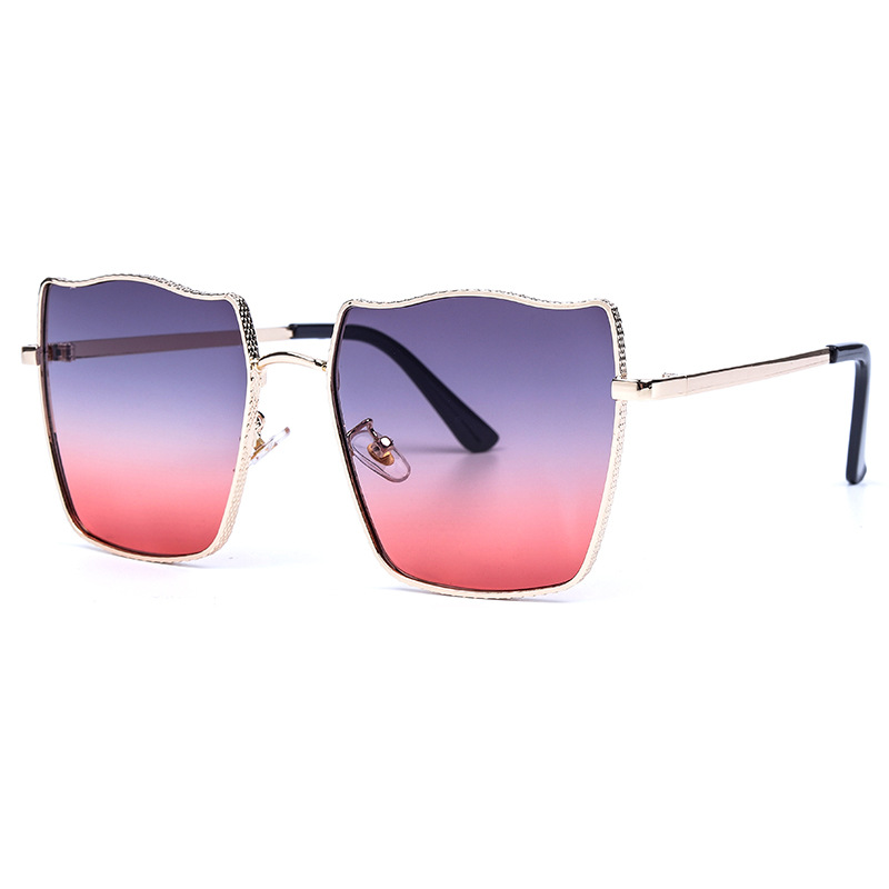 Woman Fashionable Versatile Gradient Sun Glasses Personalized Water Ripple Metal Frame Sunglasses Men's And Women's Sunglasses(China)
