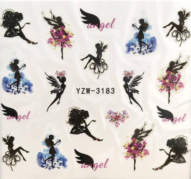 YZWLE 1 PC fleur fée/fleur elfe transfert deau Nail Art autocollant beauté rouge feuille dérable décalcomanie ongles Art décorations