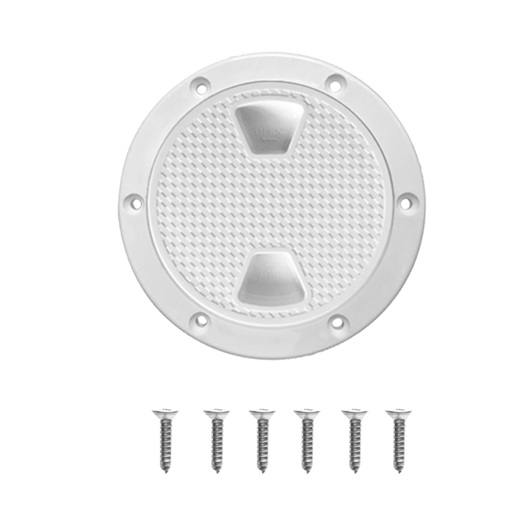 2x Marine Deck Plate, 4 & 8 Inch Hatch Cover Twist Out Inspection Hatch for Boat Kayak Canoe, Included 12 Screws, White