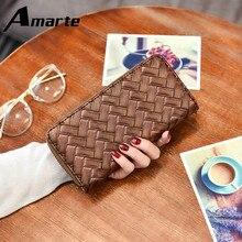 2019 Amarte New Fashion Women Wallet  Luxury Women Purse  Zipper  Knitting  Long  Purse  PU Popular Multicolor Wallet for Female