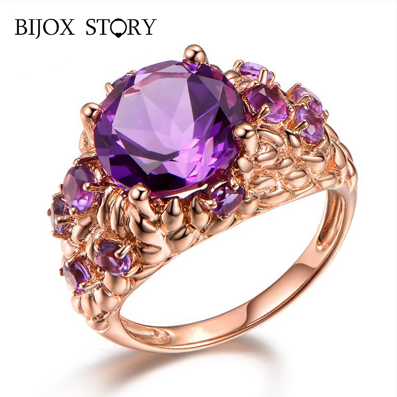BIJOX STORY Fashion 925 Sterling Silver Jewelry Ring with Round shape Amethyst Gemstone Rings for Women Wedding Party Wholesales