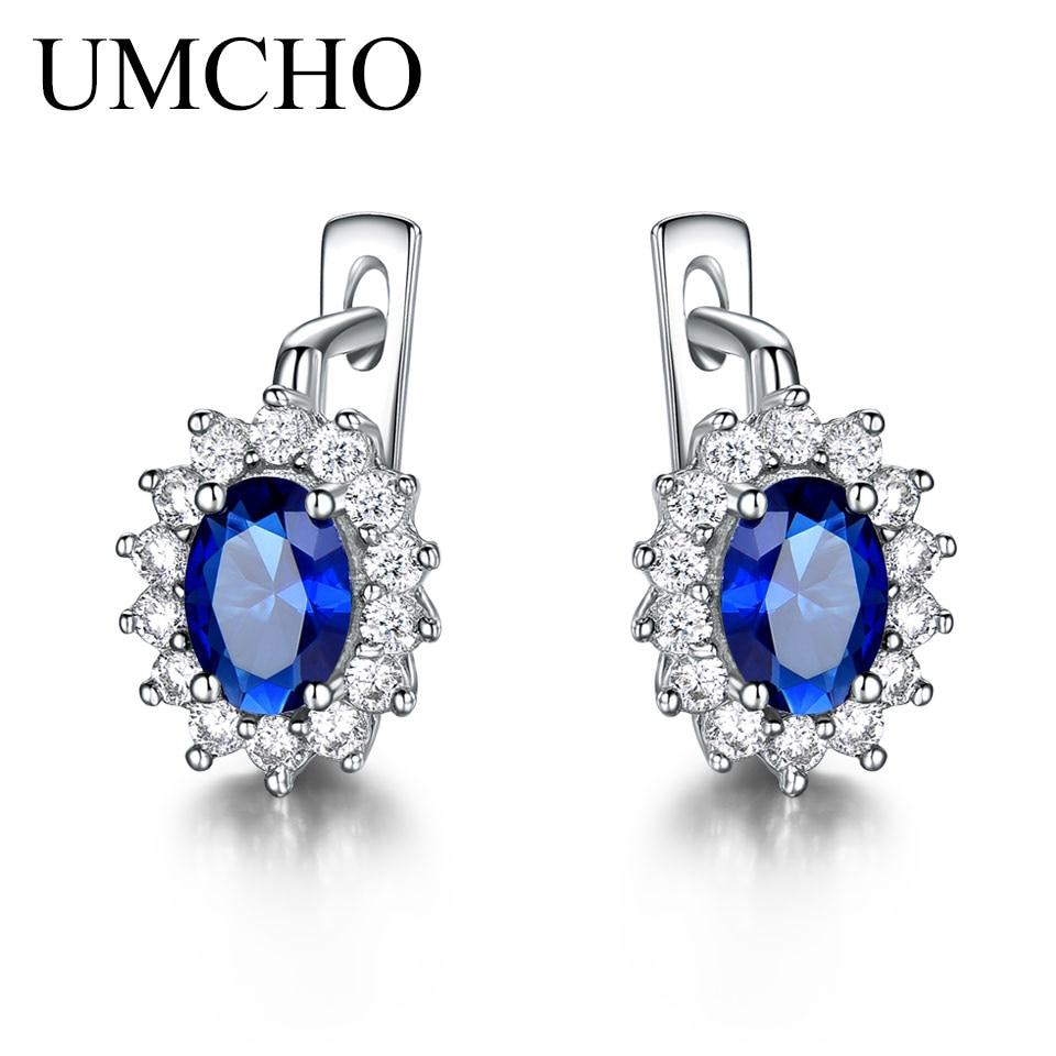 UMCHO Solid 925 Sterling Silver Gemstone Clip Earrings for Women Blue Sapphire Fine Jewelry Wedding Engagement Innrech Market.com
