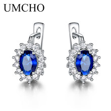 UMCHO Solid 925 Sterling Silver Gemstone Clip Earrings for Women Blue Sapphire Fine Jewelry Wedding Engagement Valentines Gift