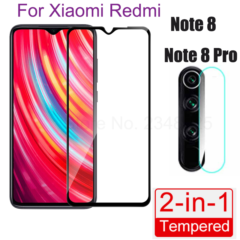 2 In 1 Camera Lens Tempered Glass For Xiaomi Redmi 8 7 7A Note 7 8 Pro Note7 7Pro Note 8 Pro Full Cover Screen Protector Glass