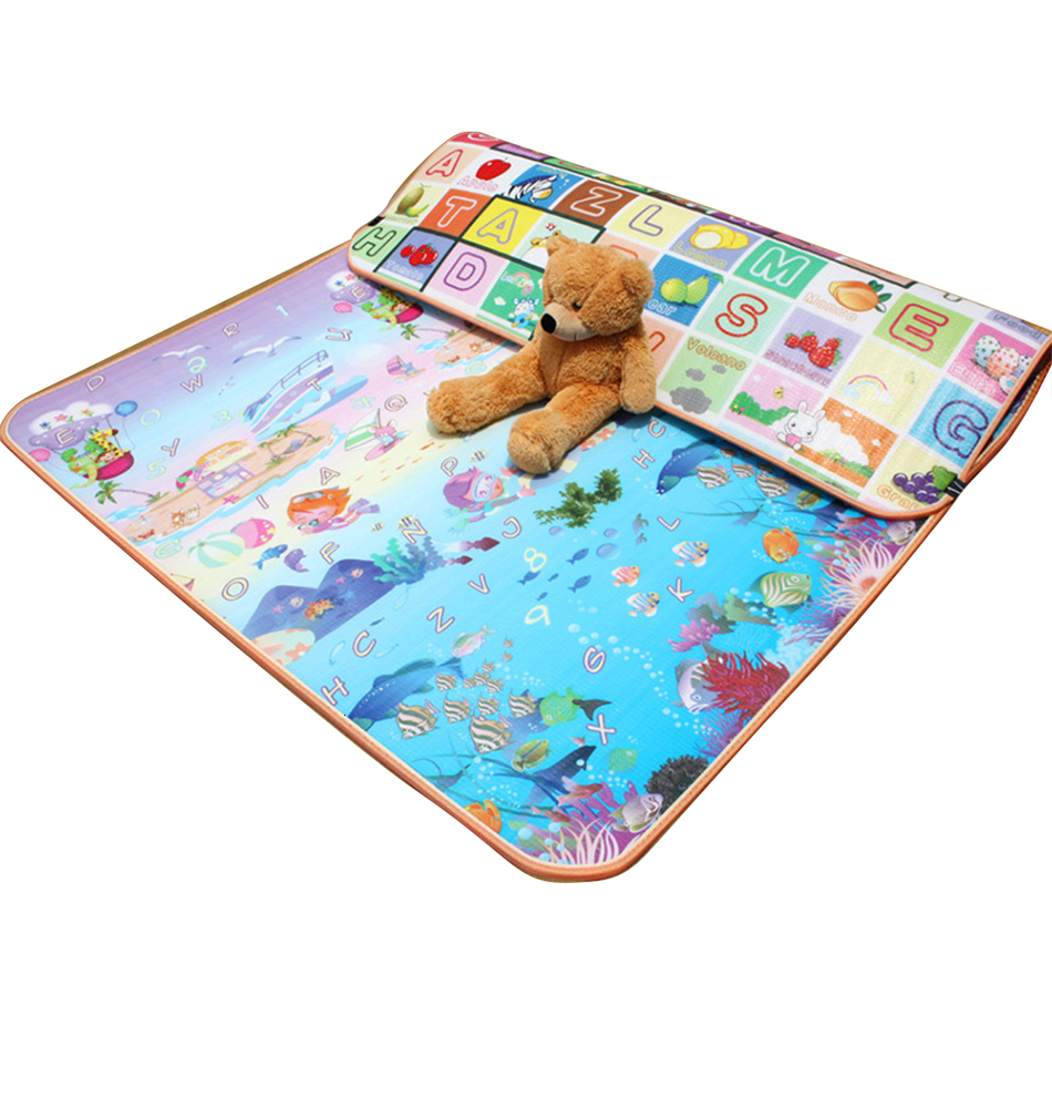 H4b3be8c31e8a410f91259e7cc45c9b69c Baby Play Mat 0.5cm Thick Foldable Crawling Mat Double Surface Baby Carpet Rug Cartoon Developing Mat for Children Game Playmat