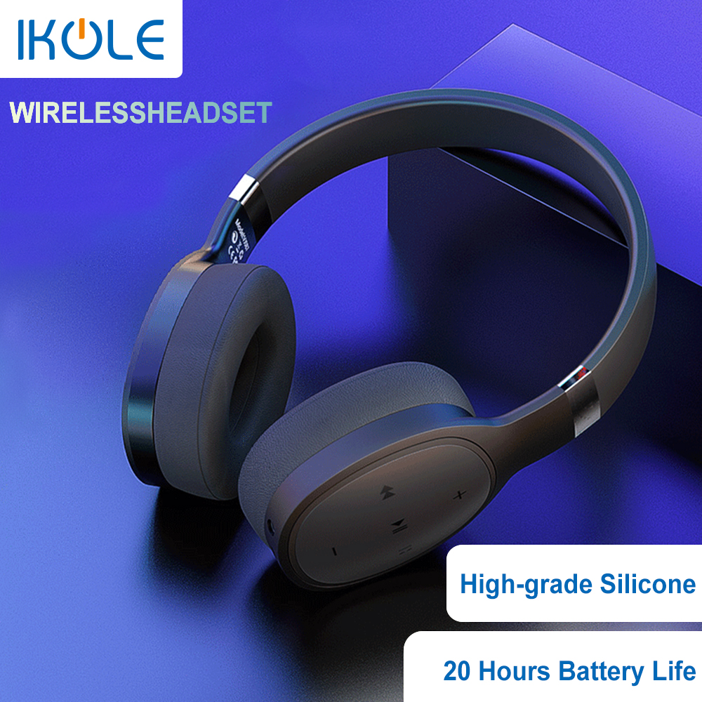 IKOLE Bluetooth 5 0 Wireless Over the Ear Headset Deep Bass Hi-Fi Stereo Sound with rubber Comfortable to Wearing Headphone