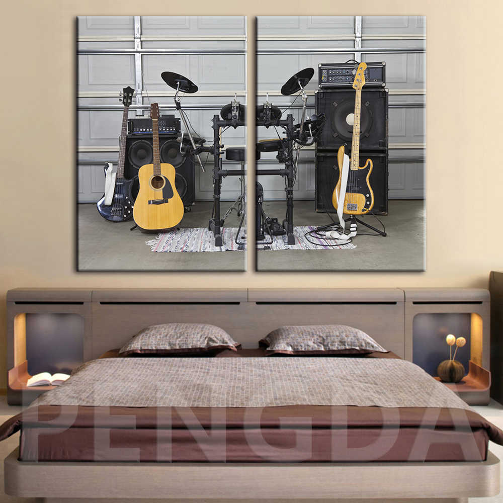 Canvas Printed Poster Home Decoration Instrumental Guitar Drum Set Paintings Wall Artwork Pictures Dance Room Modular Framed