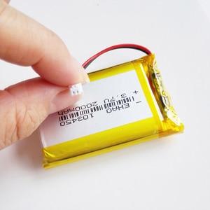 Image 2 - 103450 3.7V 2000mAh lipo פולימר ליתיום נטענת סוללה + jst 1.25mm 2pin תקע עבור MP3 GPS navigator DVD