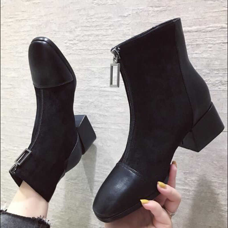 AQ20 Winter Boots Women Shoe Woman Boots Fashion Black Ankle Boots Winter Boots 2019 Winter New Short Fur Warm Boots Comfortable