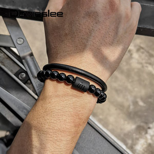8mm Black Glass Bead Bracelet for Men Man-Made Leather 12 Zodiac Sign Constellation Charm Magnetic Buckle 8.5inch LDLB191