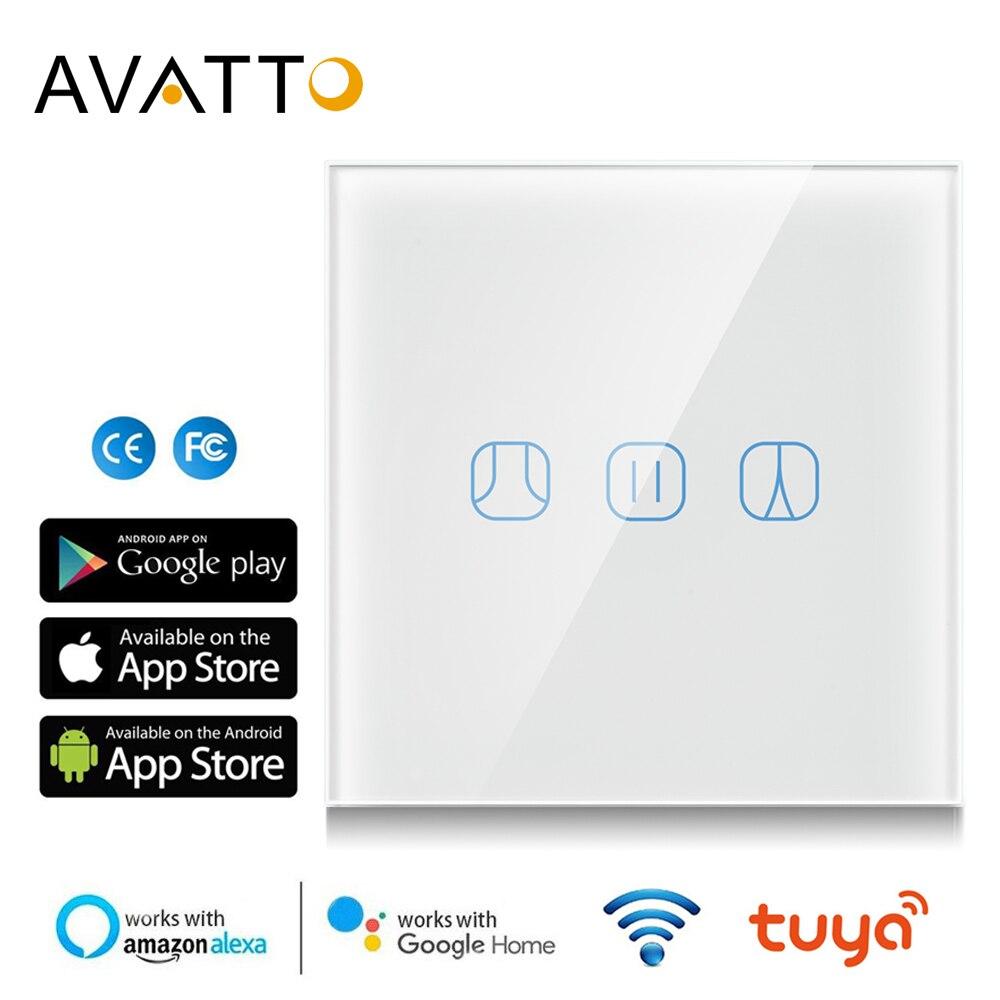 AVATTO WiFi сенсорный занавес переключатель электрические моторизованные шторы на роликах работает с Google Home Alexa Echo Tuya умный дом