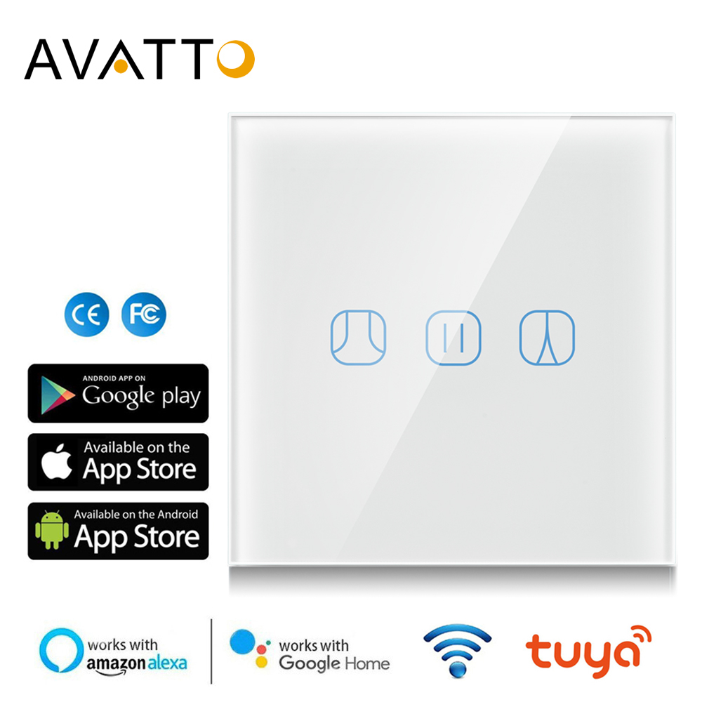 AVATTO WiFi Touch Curtain Switch Electric Motorized  Roller Blinds Works With Google Home Alexa Echo Tuya Smart Home