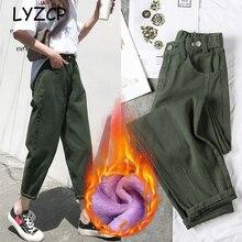 LYZCR свободные гарем женские флисовые Джинсы женские яркие зимние теплые джинсы женские джинсовые брюки карандаш с высокой талией зимние брюки
