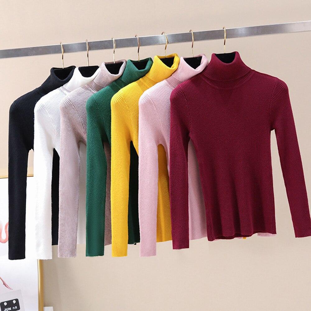 OEAK Women Knitted Turtleneck Sweater 2019 Autumn Winter Soft Casual Jumper Fashion Slim Femme Elasticity Sweater Top Newest