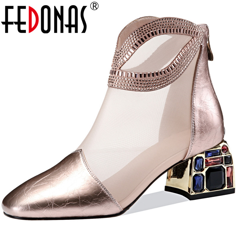 FEDONAS Women Pumps Glitters Crystal Rhinsetone Back Zipper Cow Leather Spring Summer Prom Shoes Classic Design 2020 Shoes Woman