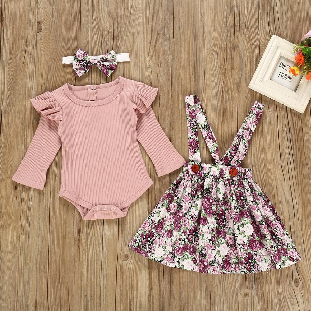 Autumn Baby Girl Clothes Solid Color Long Sleeve Ruffle Romper Flowers Dress Headband Newborn Infant Girl Floral Skirt Outfits