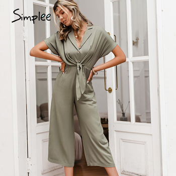 Simplee Solid High Waist Short Sleeve V-neck Jumpsuit Casual Summer Women Wide-leg Loose Knotted Office Jumpsuit 1