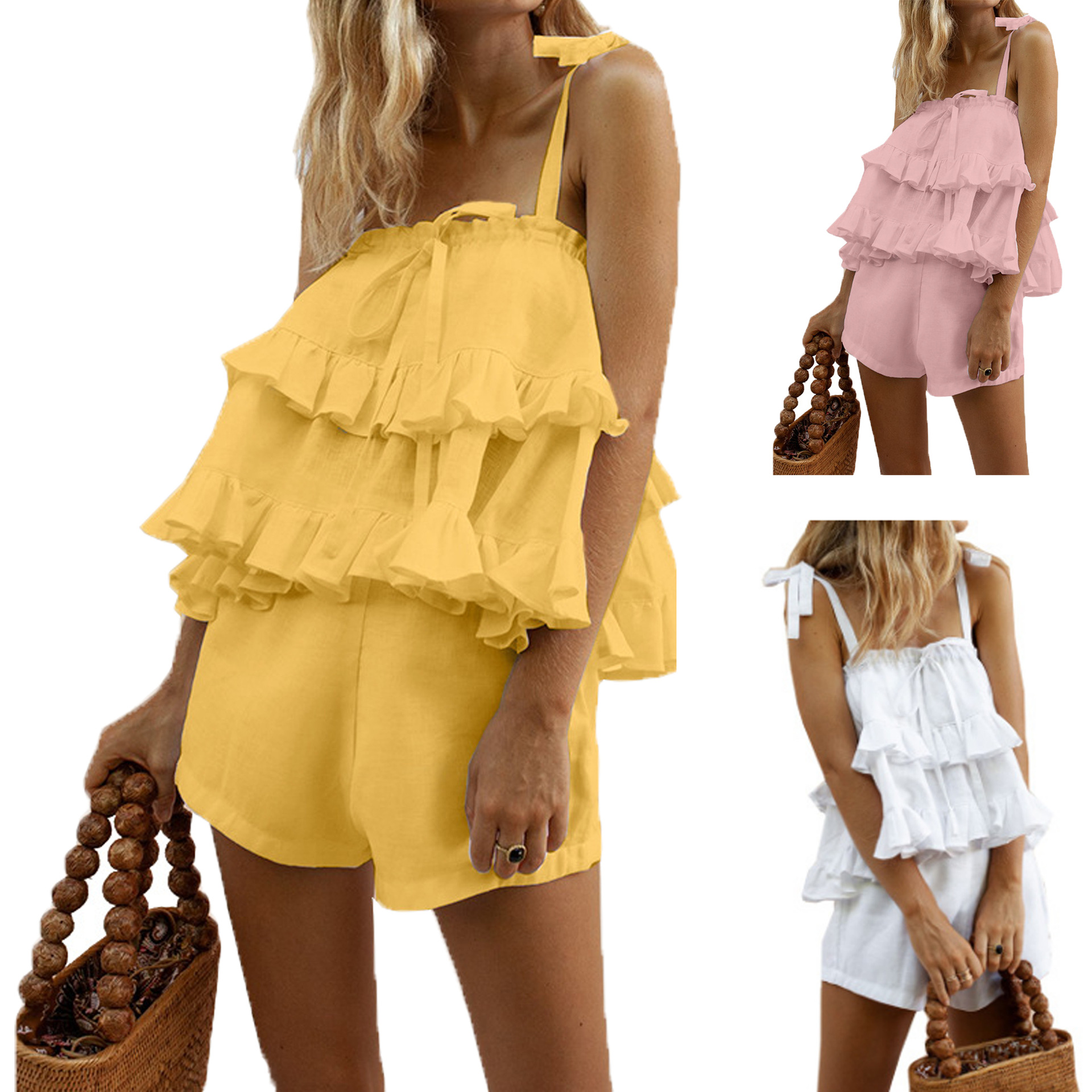 Hot Selling 2019 Summer New Style Europe And America Women's Lotus Leaf Top Shirt With Narrow Straps Cotton Linen Shorts Set Fc4