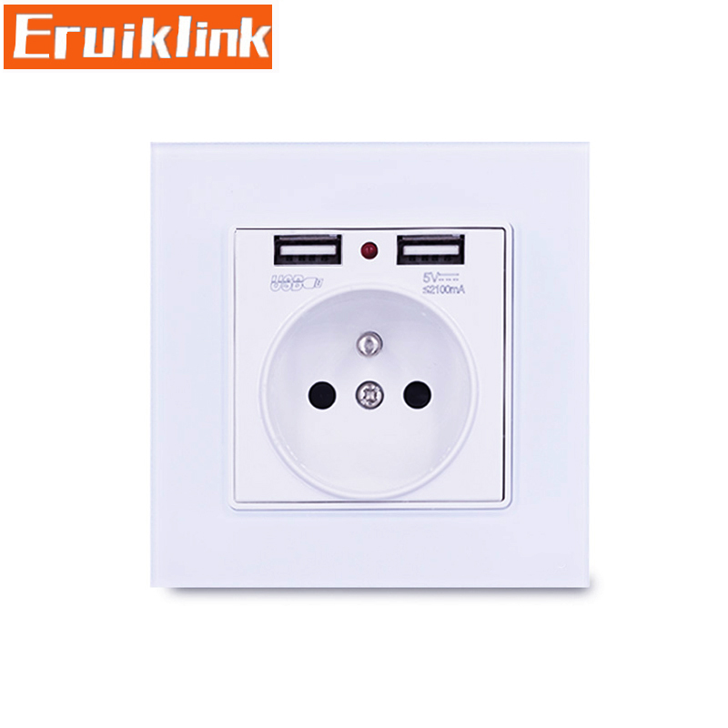 Купить с кэшбэком 2 USB with 13A round hole chargering phone useful EU standard socket,Crystal Glass Panel Outlet 2.1A Dual USB Charger Port