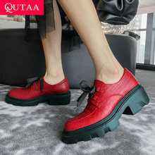 Women Shoes Ladies Pumps Round-Toe Platform Lace-Up Square High-Heels Genuine-Leather