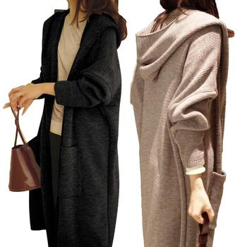 Jacket Coat Women Solid Color Long Cardigan Autumn Winter Casual Knitted Women Large Coat Winter Jacket Hooded Sweater Cardigan