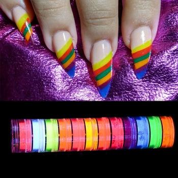 Neon Pigment Nail Powder Set Nail Fluorescence Gradient Glitter Summer Shinny Dust Nail Polish Dust UV Gel Nail Decals недорого