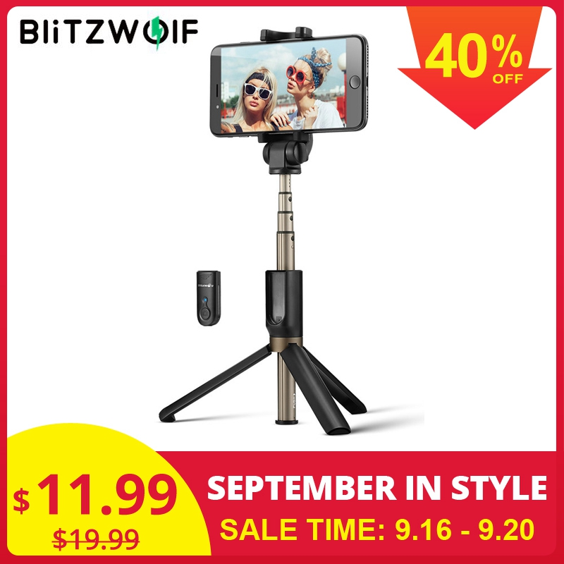 BlitzWolf 3 in 1 Wireless bluetooth Selfie Stick Mini Tripod Extendable Monopod Universal For iPhone 11 X 8 7 For Xiaomi Huawei