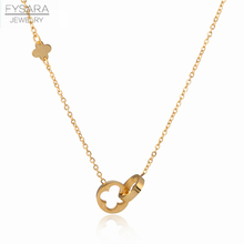 Классическое Брендовое ожерелье FYSARA с двумя кольцами Love, ожерелье с римскими цифрами, цветком клевера, Золотая ключица из нержавеющей стали