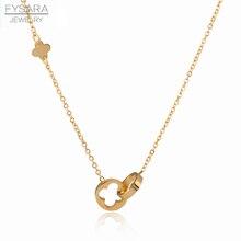 FYSARA קלאסי מותג אהבת שני מעגל כפול אבזם שרשרת רומי ספרה פרח תלתן שרשרת נירוסטה זהב עצם הבריח