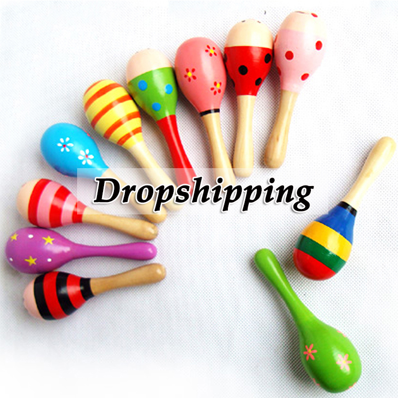 1 PCS Colorful Wooden Maracas Ball Rattle Toys Toddler Bed Bell Sand Hammer Kids Baby Early Learning Musical Instruments Toys