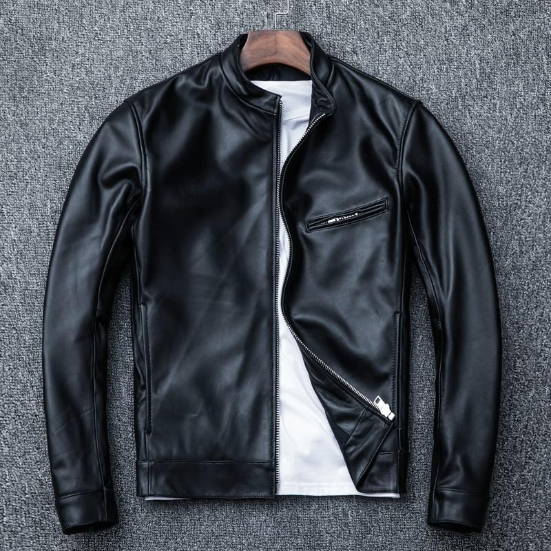 Genuine Leather Jacket Men Spring Autumn Sheepskin Coat Plus Size Leather Coats Men Clothes Veste Cuir Homme KJ1918