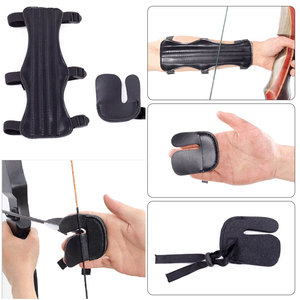 Archery Protector PU Leather Arm guard and 3 Finger Protector Combination set for Hunting accessory