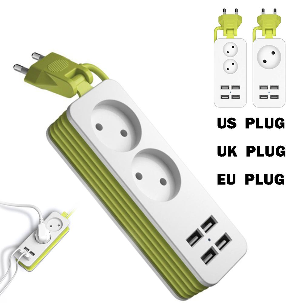 Multiple Portable Travel 1200W 1 5m 4 USB Port Charger Socket EU UK US Plug Power Strip Plug Adapter for Smartphones Tablets