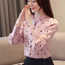 Korean Fashion Dot Chiffon Blouse Women Shirts Plus Size Blusas Mujer De Moda Blouses Womens Tops and