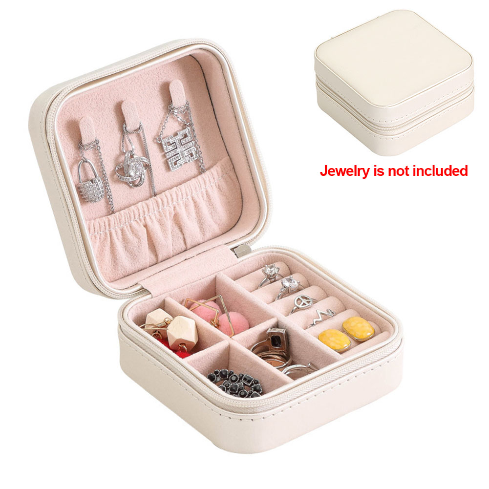 Portable Women Jewelry Organizer With Zipper PU Leather Ring Earring Storage Case Necklaces Bracelet Display Box Travel Case