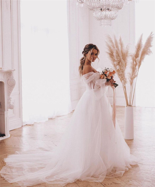 Fairy Boho Wedding Dresses Detachable Long Puff Sleeve Bride Dress Vintage Lace Beach Wedding Gowns Plus Size Corset Back Sweet 5