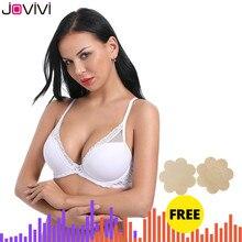 Jovivi 1 قطعة المرأة مثير الدانتيل الصدرية مصبوب كوب ضوء مبطن Underwire البرازيلي السيدات رقيقة الصدرية الراحة لينة اليومية حمالات الصدر الأبيض 32A 40DDD