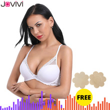 Jovivi 1 pc Womens Sexy Lace Bra Molded Cup Light Padded Underwire Bra Thin Ladies Bra Comfort Soft Daily Bras White 32A 40DDD