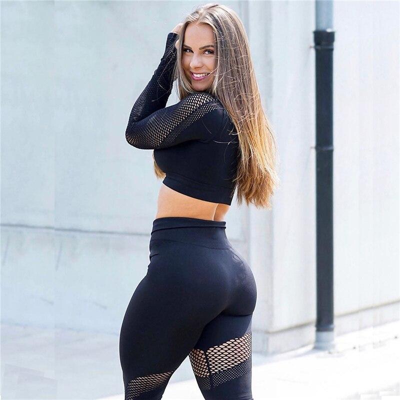 Yoga Set Women Sport Suit Gym Clothes 2 Piece Seamless Hollow Out Fitness Long Sleeve Crop Top High Waist Workout Leggings