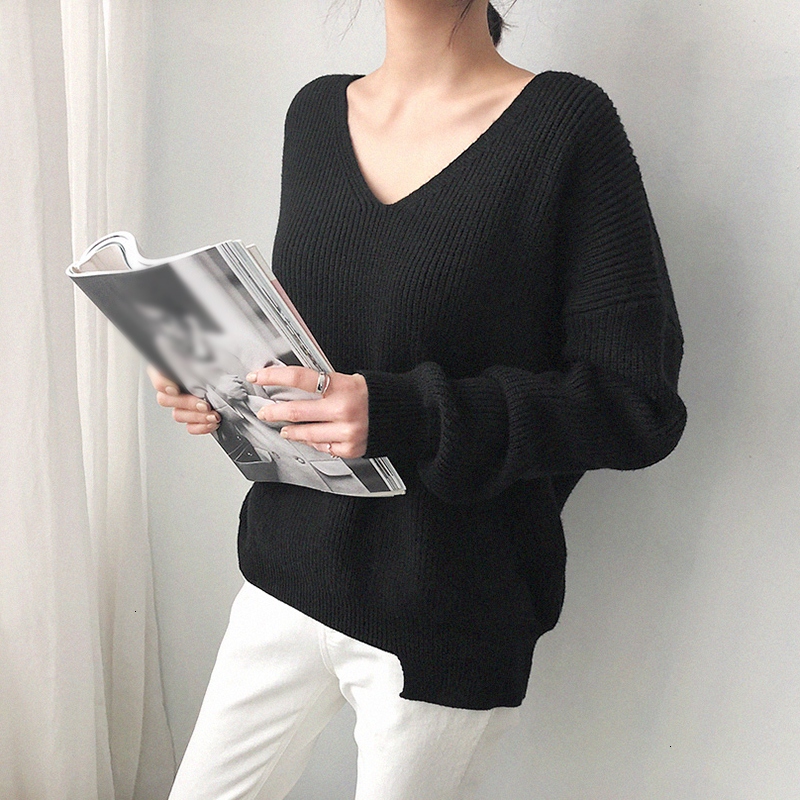 Image 4 - TWOTWINSTYLE Knited Korean Autumn Sweater For Women V Neck Long 