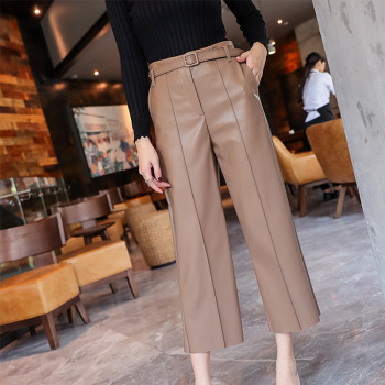 Autumn Faux PU Leather Pants Women With Belt High Waisted Wide Leg Anke-length Women's Trousers 2020 Spring NEW Fashion Clothes 3