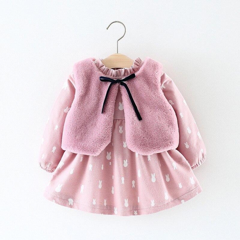 Детское утепленное платье + жилет с мехом, 2 шт., платье принцессы на осень и зиму, вечерние платья для маленьких девочек, одежда для новорожде...