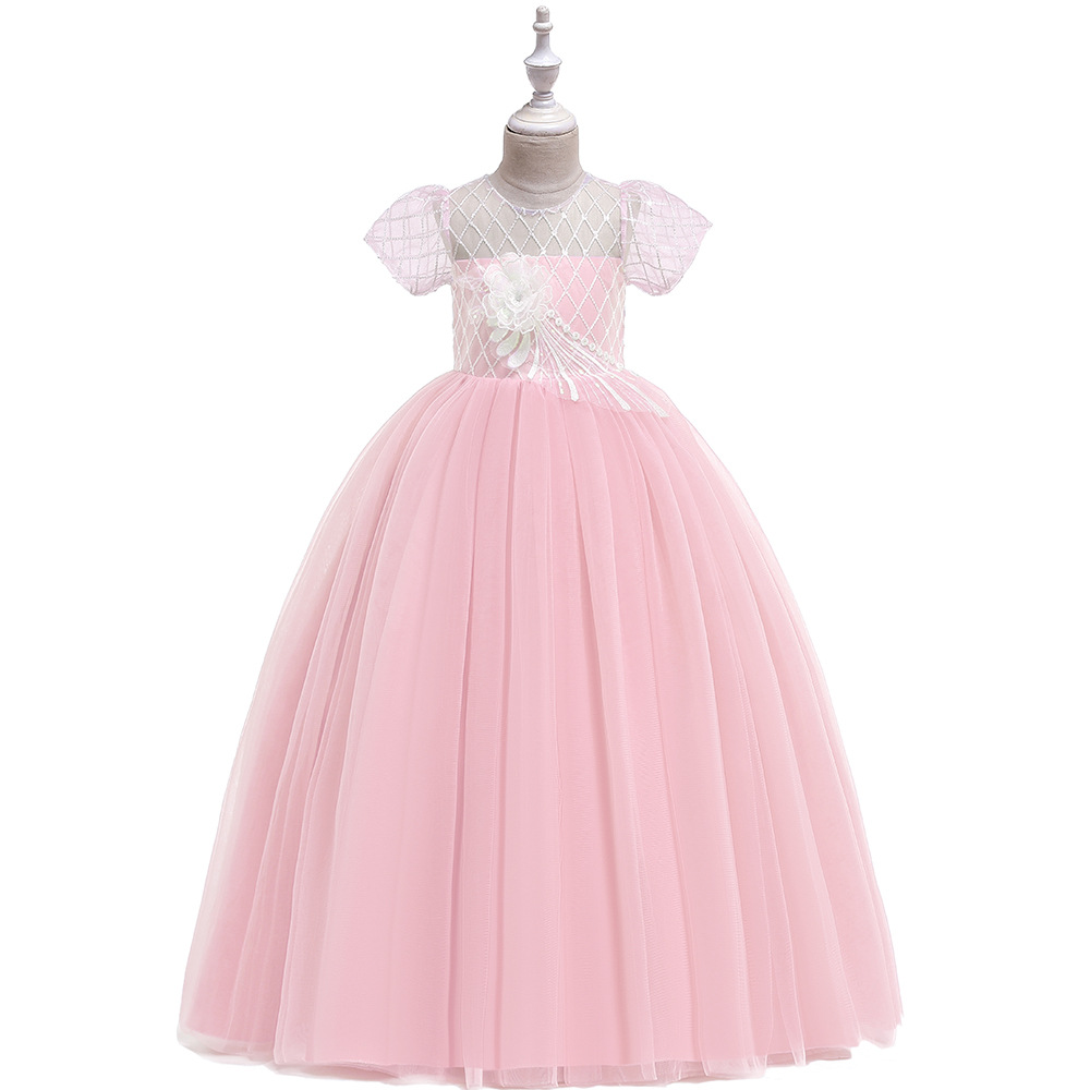 Europe And America New Style Children Wedding Dress Princess Dress Hollow Out Gauze Princess Girls Piano Catwalks Formal Dress