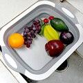 Складной разделочный блок Складная разделочная доска кухонная силиконовая разделочная доска корзина для мытья фруктов со сливной вилкой
