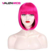 Valenwigs Short Straight Bob Style Hair Wigs with Flat Bangs Synthetic Cosplay Daily Party Wig for Women 7 colors available
