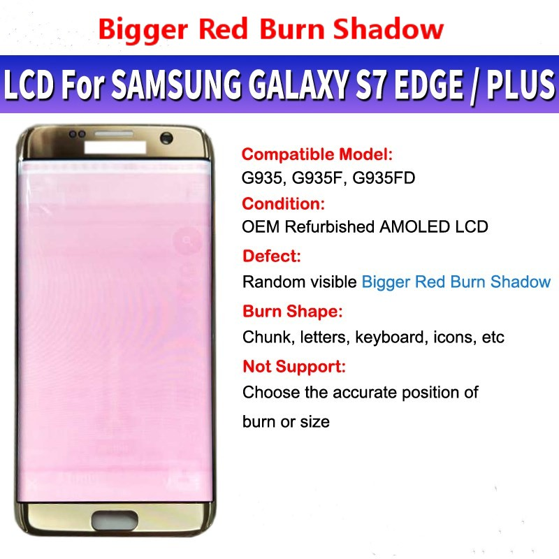 Super Amoled Big Red Burn Shadow LCD For Samsung Galaxy S7 Edge G935 SM-G935F LCD Display and Touch Screen Digitizer Assembly image