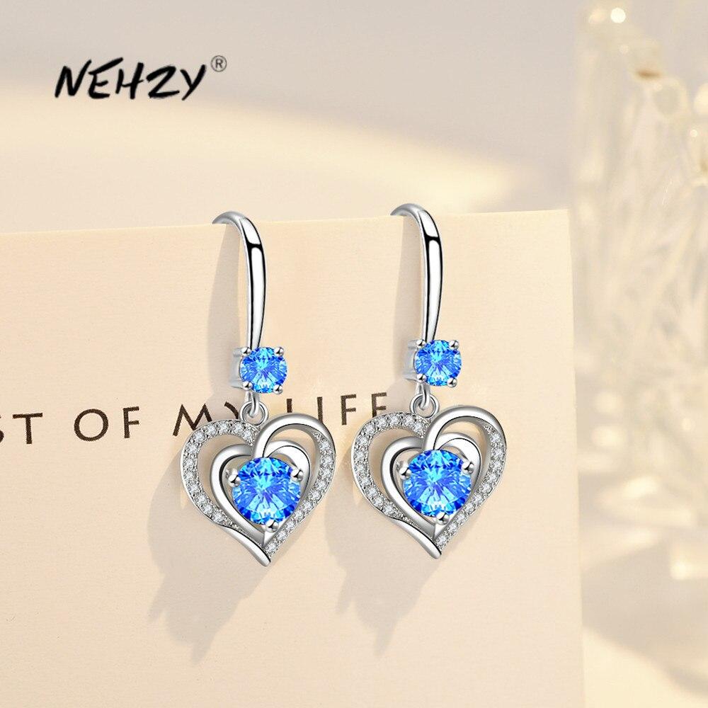 NEHZY-pendientes de plata de ley 925 para mujer, joyería de moda de alta calidad con gancho de circonita de cristal, aretes largos con borla en forma de corazón